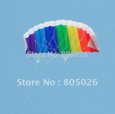 free shipping high quality dual line parafoil kite with control bar line power braid sailing kitesurf rainbow sports beach
