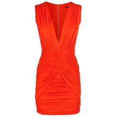 Balmain Ruched Mini Dress ($3,830) ❤ liked on Polyvore featuring dresses, v neck dress, short red cocktail dress, mini party dress, red v neck dress and party dresses