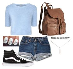 """""""Feelin' Blue"""" by emily713 on Polyvore featuring Glamorous, Wet Seal, Vans, H&M, Blue, Sweater, vans and shorts"""