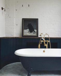 Dark colours can work well in the bathroom. Design and bathroom inspiration. Navy Bathroom, Bathroom Renos, Small Bathroom, Washroom, Bathroom Styling, Bathroom Interior Design, Bathroom Cladding, Victorian Bathroom, Beautiful Bathrooms