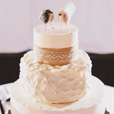 Wedding Cake with Burlap and Lace - I like the texturing