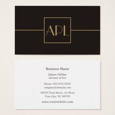 Abogado elegante minimalista oscuro del monograma tarjeta de negocios