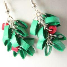 mistletoe paper quilling Christmas earrings