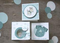 """Mini Baby-Kärtchen zur Geburt für kleine Jungs mit den Motiven Babybody, Rehkitz und Kätzchen aus dem Stempelset """"Zum Nachwuchs"""" von Stampin' Up!"""
