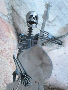 Zombie Skeleton Musician Playing Upright Double Bass. $59.00, via Etsy.