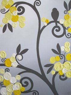 Wall art yellow and grey abstract flower 20x20 acrylic painting on wall art yellow grey flowers and birds by murraydesignshop on etsy mightylinksfo