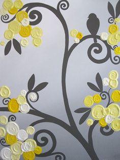 Arte de la pared amarillo gris flores y aves por MurrayDesignShop