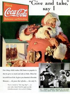1937 Vintage Advert - Coca-Cola at Christmas with Santa Claus by CharmaineZoe, via Flickr