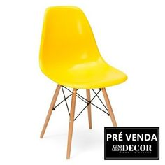 Cadeira Polipropileno DKR Eiffel Wood Amarela Base Madeira