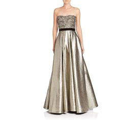 Pamella, Pamella Roland Metallic Beaded Ball Gown ($1,340) ❤ liked on Polyvore featuring dresses, gowns, apparel & accessories, white beaded gown, strapless evening gown, beaded dress, strapless gown and white dress
