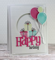 What a fun Birthday card (presents, Happy diecut, Balloons) (Pin Balloons. Pin+: Peek-A-Boo). Bday Cards, Kids Birthday Cards, Handmade Birthday Cards, Hand Made Greeting Cards, Greeting Cards Handmade, Peek A Boo, Whimsy Stamps, Envelopes, Shaker Cards