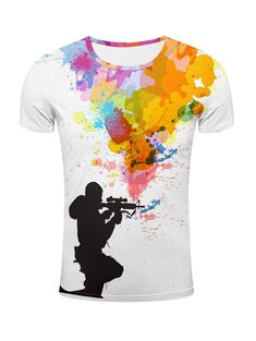 T-Shirts | Colormix 3D Sniper and Colorful Splatter Paint Print T-Shirt - Gamiss