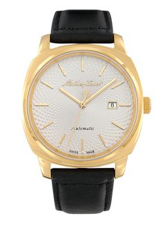 Smart Automatic men's watch with yellow gold case and black band Sapphire Bracelet, Watch Brands, Modern Classic, Watches For Men, Marble, Take That, Band, Yellow, Hgtv