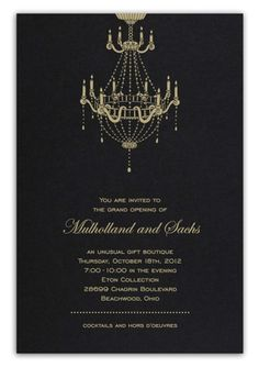 Black Formal Invitation With Gold Lithography Chandelier by Luscious Verde