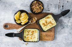 Raclette servie avec du crunch de sarrasin - Recette | fooby.ch Valeur Nutritive, Crunch, Fett, Dairy, Cheese, Vegetarian, Kitchen Workshop, Food