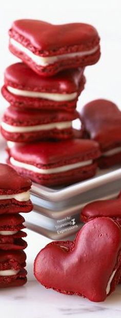 macarons on Stylehive. Shop for recommended macarons by Stylehive stylish members. Get real-time updates on your favorite macarons style. Red Velvet Macaroons, Red Velvet Cookies, Red Macarons, Pink Macaroons, Macaron Cookies, French Macaroons, Velvet Cake, Cupcakes, Heart Cookies
