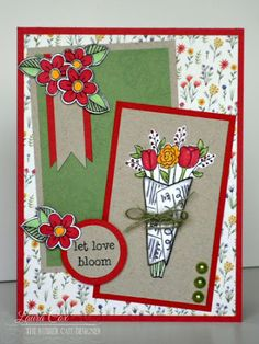 Love in Bloom by @scrapaddict4lc  for @therubbercafe using @echoparkpaper #Card #stamping #creativecafekotm