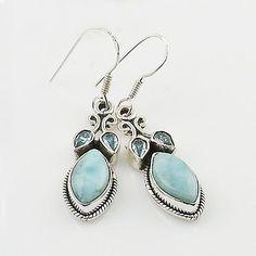 Larimar & Blue Topaz Sterling Silver Earrings