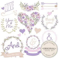 Premium Floral Clip Art & Vectors - Lavender Wedding Clip Art, Wedding Clipart, Love Clipart, Vintage Flowers, Hand Drawn Flowers