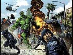 Hulk vs Captain Marvel | Hulk Vs Thor Swat Wallpaper with 1024x768 Resolution