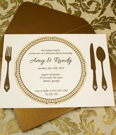 DIY Elegant Rehearsal Dinner Invitation from #downloadandprint. Have this made in your #wedding colors! www.downloadandprint.com http://www.downloadandprint.com/templates/rehersal-dinner-invitation-template-golden-plate/ $18.00