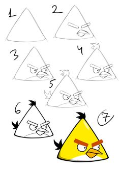 How to draw a yellow angry bird step by step