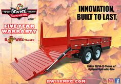Did you know BWise Trailers feature a five-year structural warranty? Flatbed Trailer, Dump Trailers, Welding Trailer, Sun Lounger, Farmer, Innovation, Trucks, Building, Trailers