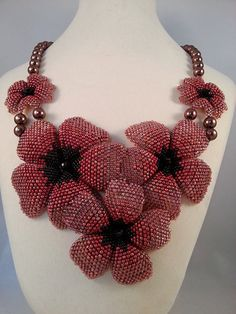 Beaded Flower Statement Necklace: Peach and copper glass beads