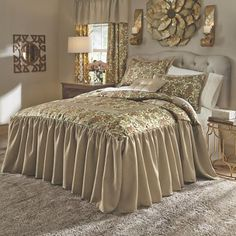 Amanda Skirted Comforter Set and Window Treatments  from Midnight Velvet.  Elegant and easy jacquard bedding and accessories are sure to give your bedroom a touch of elegance.