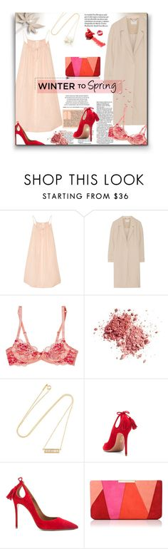 """Kiss Me in the Morning"" by sherieme ❤ liked on Polyvore featuring Skin, Jason Wu, L'Agent By Agent Provocateur, Jennifer Meyer Jewelry, Aquazzura and L.K.Bennett"