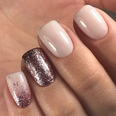 Nude nails, sparkle accent nail, pinky finger with ombré & more sparkles