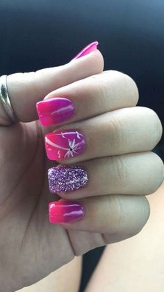 Beach nails- pink & purple ombre with palm trees - Beach Nails Pink Acrylic Nail Designs, Beach Nail Designs, Ombre Nail Designs, Pink Acrylic Nails, Pink Nails, Summer Toe Nails, Beach Nails, Minimalist Nails, Fancy Nails