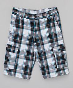Look at this #zulilyfind! Blue & Gray Plaid Cargo Shorts - Boys by American Hawk #zulilyfinds