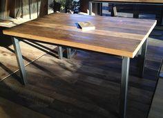 Antique Oak Table | Steel Legs