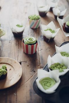 chocolate cupcakes with matcha green tea frosting — molly yeh Green Tea Recipes, Sweet Recipes, Mini Cakes, Cupcake Cakes, Matcha Green Tea Powder, How Sweet Eats, Chocolate Cupcakes, International Recipes, Food Inspiration