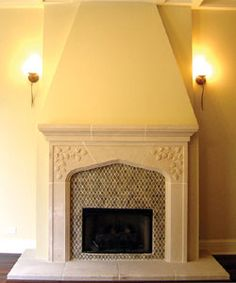 Wow...maybe buy a Tudor stone surround, then tile the inner portion?  Different tile than this, but the stone portion is cool.  Link to purchase site.  Leaf Tudor Fireplace, installed with standard hearth