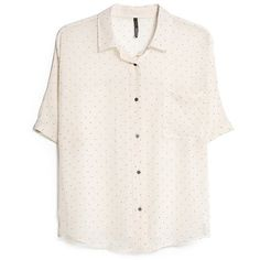 Printed Chiffon Blouse ($15) ❤ liked on Polyvore featuring tops, blouses, shirts, t-shirts, chiffon blouse, short sleeve chiffon shirt, white chiffon top, short-sleeve shirt and white blouse