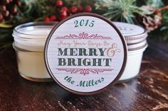 Set of 12 - 4 oz. Holiday Favor Candle//Christmas Candle Gift//Personalized Holiday Gift//Christmas Party Favor//Merry & Bright Christmas//