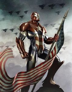 Or Iron Man and Captain America's love child. -- The Iron Patriot armor in Iron Man 3.  I just want to know which one carried this monstrosity to term???
