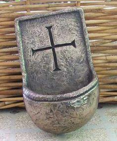 "Lough Derg Holy Water Font Handmade in Kinsale Made in Ireland by The Wild Goose Studio, Kinsale, Co. Cork 7"" x 4"""