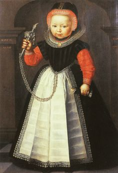 Jan Claesz. - Girl with a Rattle.   c. 1609  91 x 62.5 cm, Oil on panel  Fries Museum, Leeuwarden