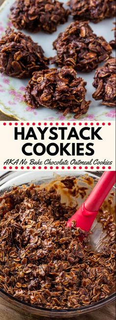 Haystack cookies are a deliciously chewy no bake cookie with oatmeal and coconut They re made from simple pantry ingredients super easy and loved by kids and adults alike nobake cookies recipes haystackcookies Easy Cookie Recipes, Sweet Recipes, Dessert Recipes, Oatmeal Recipes, Kid Recipes, Yummy Recipes, Recipies, Holiday Baking, Christmas Baking