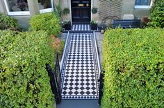 Victorian Floor Tiles by Original Style. Quintessentially British, these geometric floor tiles are ideal for both the restoration of Victorian and Edwardian (. Front Path, Front Walkway, Outdoor Tiles, Outdoor Flooring, Porch Tile, Victorian Tiles, Victorian House, Traditional Tile, Vintage Tile
