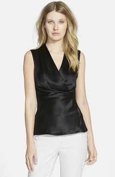 Lafayette 148 New York 'Sarabeth' Silk Front Sleeveless Blouse available at #Nordstrom