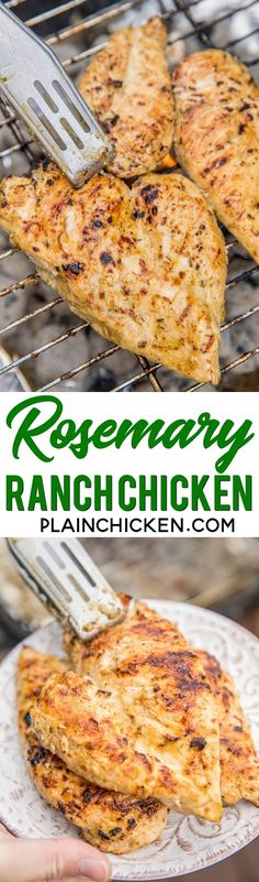 Rosemary Ranch Chicken - chicken marinated in Ranch dressing, olive oil and rosemary - grill up for THE BEST chicken you'll ever eat! We make this at least once a week. Double up the recipe for leftovers! It is to-die-for delicious!! #grilling #chicken #grilledchicken #chickenrecipe