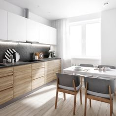 9 Keen Clever Tips: Minimalist Kitchen Decor Drawers minimalist interior white woods.Minimalist Kitchen Shelves Apartment Therapy minimalist home facade interiors.Minimalist Bedroom Tips To Get. White Kitchen Cabinets, Kitchen Cabinet Design, Interior Design Kitchen, Kitchen White, Grey Cupboards, Neutral Kitchen, Gold Kitchen, Upper Cabinets, Wood Cabinets