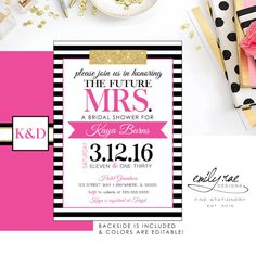 Pink and Stripe Bridal Shower Invite, Pink & Stripes Wedding Shower Invite, Kate Spade Bridal Shower Invitation, Kate Spade Inspired Bridal Shower Wishes, Bridal Shower Planning, Wedding Shower Invitations, Wedding Stationary, Bridal Shower Table Decorations, Bridal Shower Tables, Birthday Decorations, Kate Spade Party, Kate Spade Bridal