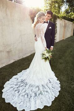 2015 Full Sleeves Bateau Memraid Tulle Wedding Dresses With Applique US$ 299.99 TDP4AXYX61 - TrendProm.com for mobile