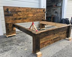 Rustic Bed Set (Headboard, Footboard, Bed Frame, 2 Cabinets and 2 USB Outlets) Queen Size Headboard, King Headboard, Headboard And Footboard, Barn Board Headboard, Headboard Ideas, Rustic Wood Headboard, Modern Headboard, Distressed Headboard, Rustic Headboards