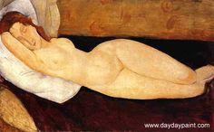 Reclining Nude Head Resting on Right Arm, Amedeo Modigliani